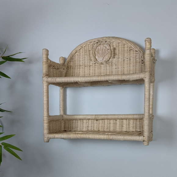 Vintage Other - Vintage White Seashell Wicker Shelf hang or stand
